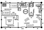 Two bedroom cottage floor plan